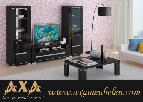 meubelen - Swarovski moderne hoogglans zwart woonkamer meubel led ...